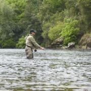 Pesca de salmón a mosca en el coto La Figal