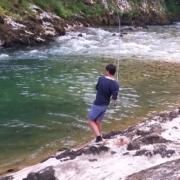 Pesca de reo en el Cares